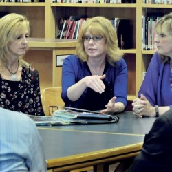 Skowhegan Area Middle School teachers on Wednesday speak about being selected as Somerset County Teachers of the Year the past three years. From left at the school are Tamara Ranger, 2016; Jennifer Dorman, 2014; and Debora Tanner, 2015. Dorman was also 2015 Maine Teacher of the Year.