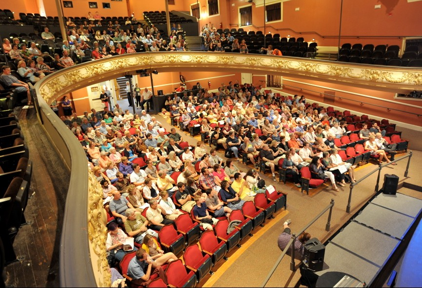 The audience fills the Waterville Opera House on opening night of the Maine International Film Festival in July 2014. Those responding to a recent Waterville Creates! survey have said that arts and culture are vital to the success of the city's downtown.