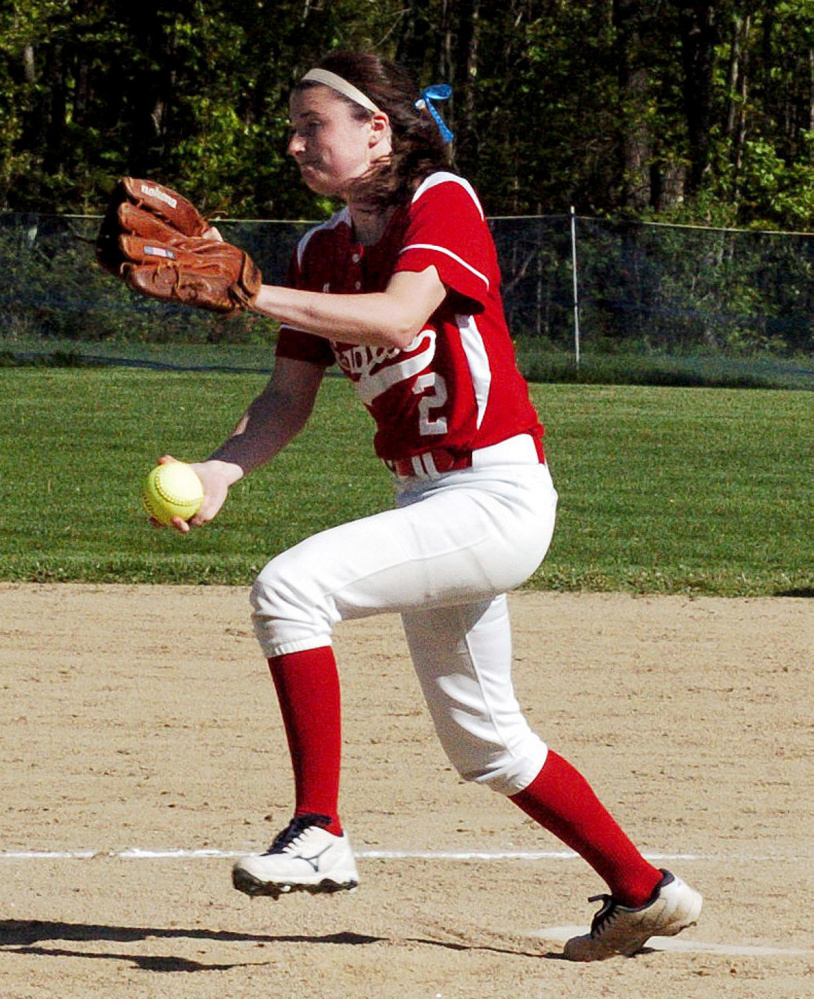 Messalonskee pitcher Kirsten Pelletier delivers a pitch against Cony during a Kennebec Valley Athletic Conference Class A game Monday in Oakland.