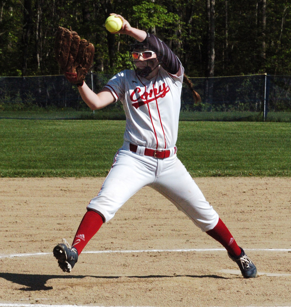 Cony pitcher Skyler Watson delivers a pitch against Messalonskee during a Kennebec Valley Athletic Conference Class A game Monday in Oakland.