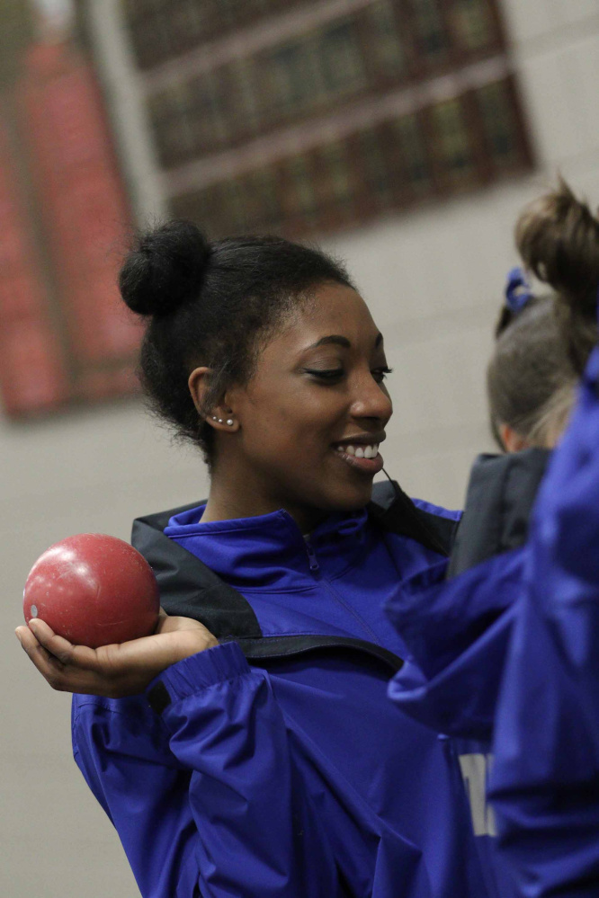 Kim Donaldson prepares to throw for Colby College during a recent meet. (Contributed photo)