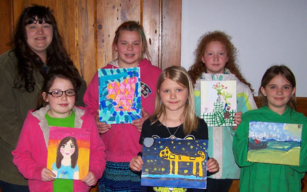 Strong Elementary student recently presented a program of Artful Endeavors to the Franklin County Retired Educators. In front, from left, are Isabelle Danala, Kydia Chapman and Kaylie Estabrook. In back, from left, are Educational Technician Heidi Richards, Lily Brault, Addie Finn.