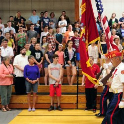 A Marine Corps League color guard marches in at the start of a pre-Memorial Day assembly Thursday at Maranacook Community High School in Readfield.