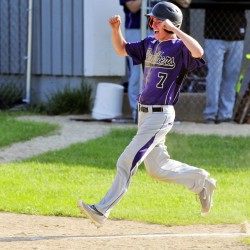 Waterville pinch runner Kodey Vallee celebrates as he heads home to score the tying run on a single by Andrew Roderigue in the top of the seventh inning during a Kennebec Valley Athletic Conference Class B game against waterville on Friday in Readfield.