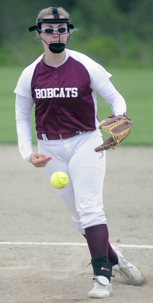 Richmond pitcher Sydney Tilton delivers a pitch during an East/West Conference game Tuesday against Temple Academy in Richmond.