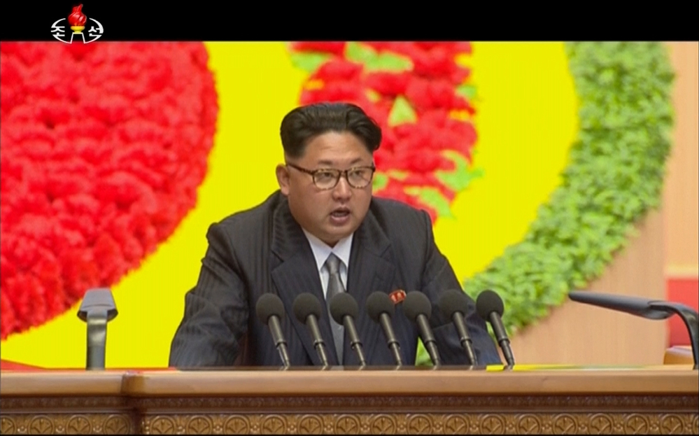 North Korean leader Kim Jong Un speaks at the party congress in Pyongyang on Sunday. The Associated Press