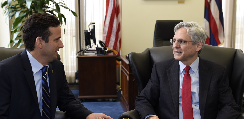 Supreme Court nominee Merrick Garland, right, meets with Sen. Brian Schatz, D-Hawaii, left, on Capitol Hill in Washington, Tuesday, May 10, 2016. (AP Photo/Susan Walsh)