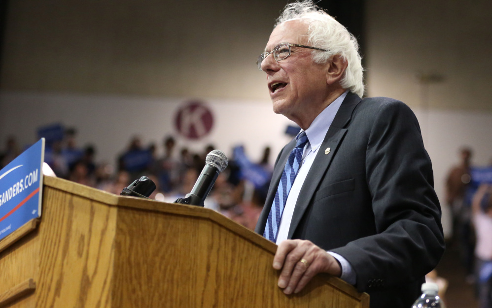The Associated Press/ Danielle Peterson/Statesman-Journal Democratic presidential candidate, Sen. Bernie Sanders, I-Vt., speaks during a campaign rally on Tuesday in Salem, Ore.