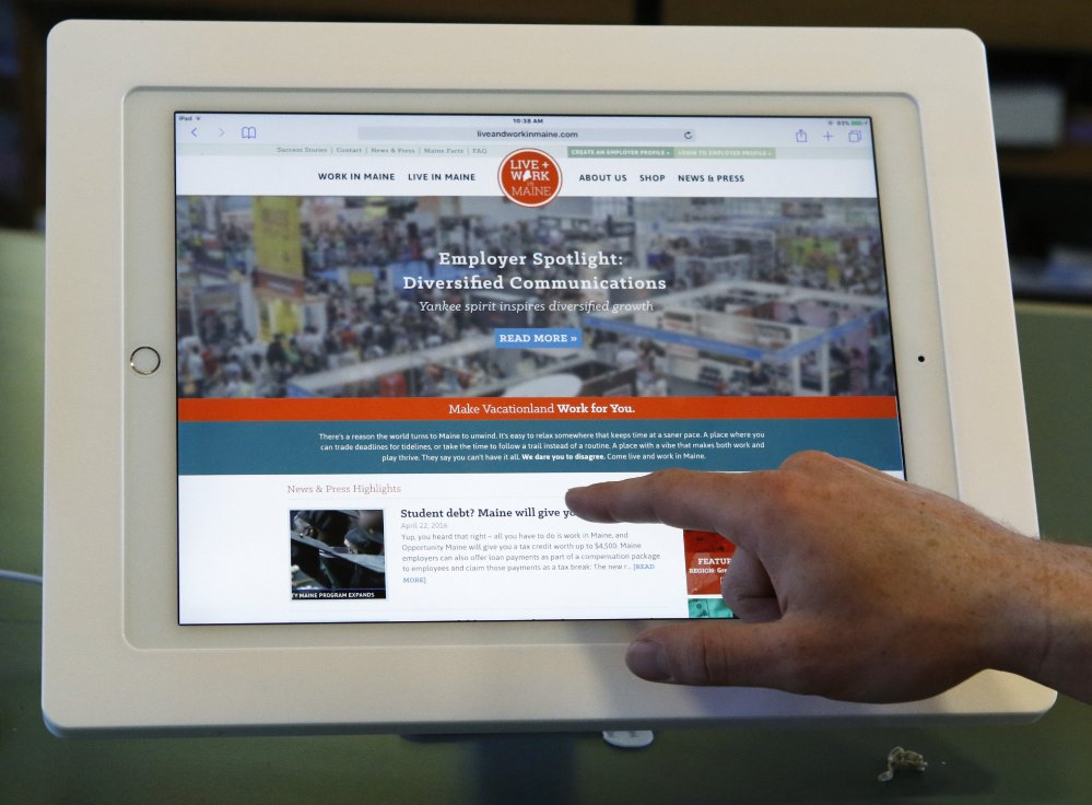 A Live + Work in Maine iPad is connected to the program's website, which lets a viewer pick a job category and look at companies offering jobs and internships in a selected region of the state.