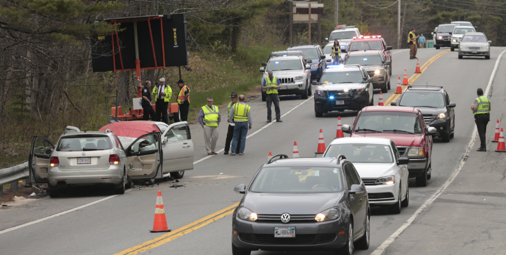 A head-on crash on Route 1 near the Wiscasset-Woolwich town line Friday killed one person and injured two.