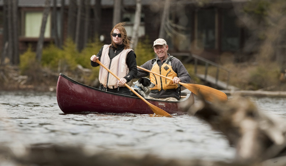 Sunday Telegram outdoors reporter Deirdre Flemming and her dog Bingo were practically family to John Christie, and they enjoyed a paddle in the Cupsuptic River in the Rangeley Lakes region in May 2012.