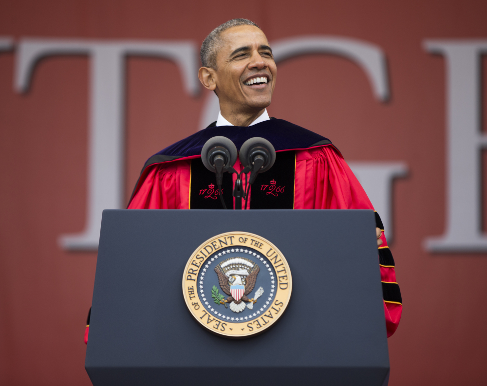 President Obama delivers the commencement address during Rutgers University's 250th anniversary graduation ceremony Sunday in Piscataway, N.J.