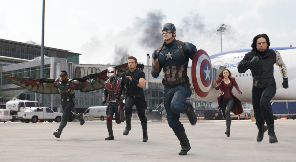 "From left, Anthony Mackie, Paul Rudd, Jeremy Renner, Chris Evans, Elizabeth Olsen and Sebastian Stan charge ahead in ""Captain America: Civil War."""
