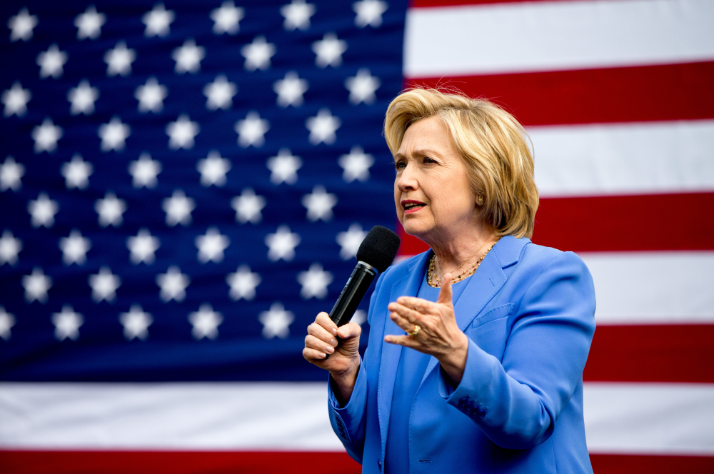 Hillary Clinton speaks during a campaign stop in Fort Mitchell, Ky., on Sunday. Primaries will be held Tuesday in Kentucky and Oregon.