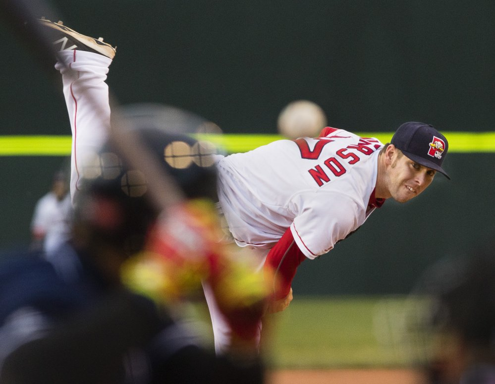 Sea Dogs Aaron Wilkerson delivers a pitch at Hadlock Field on Monday. He led Portland to a 2-0 victory over the New Hampshire Fisher Cats. Carl D. Walsh/Staff Photographer