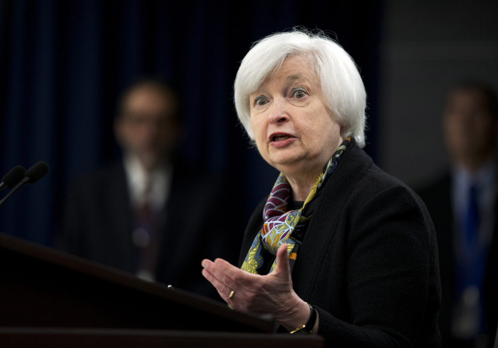 Federal Reserve Chair Janet Yellen speaks during a news conference. Minutes from its April 26-27 meeting show that a June benchmark interest rate increase is possible.