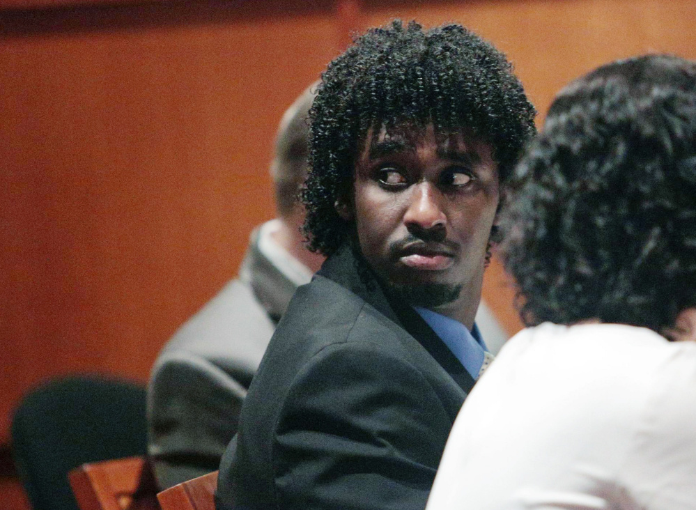 Abdirahman Haji-Hassan, 25, of Portland, shown in court in 2014, was found guilty of murder Monday in the shooting death of 23-year-old Richard Lobor in Portland.
