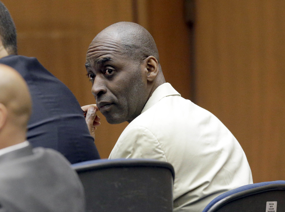 Actor Michael Jace, who played a police officer on television, appears during closing arguments during his trial at Los Angeles County Superior in Los Angeles.