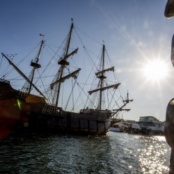 The El Galeon sails past the Maine State Pier on its way to the Maine Wharf. The tall ship is scheduled to remain on the waterfront until June 13, and after a Coast Guard inspection, it will be open to the public.