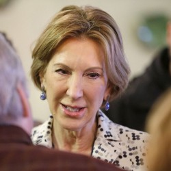 Carly Fiorina, Republican vice presidential candidate, meets with  supporters of presidential candidate, Sen. Ted Cruz, R-Texas, during a campaign stop at Lincoln Square Pancake House, Tuesday in Westfield, Ind.