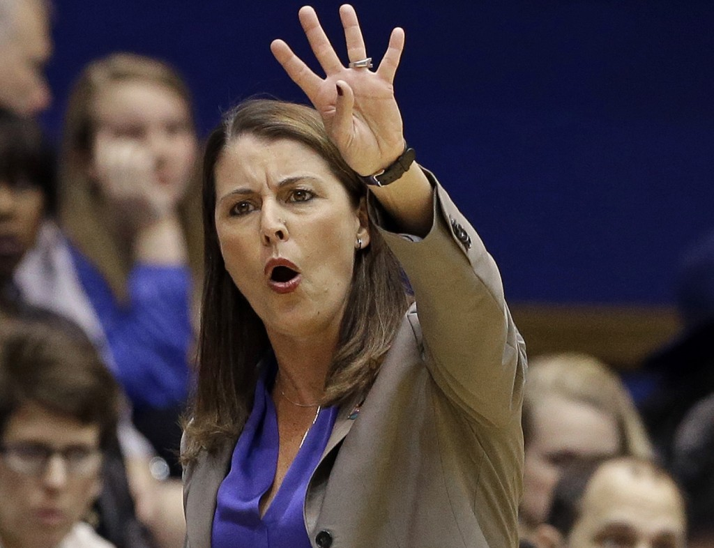 Joanne P. McCallie coaching the Blue Devils at a 54-52 victory over Albany in March 2015.