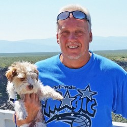 This June 2015 photo provided by Linda Bilyeu shows her ex-husband Randy Bilyeu during a visit to northern New Mexico. The Colorado man disappeared in early January 2016 while searching for a $2 million cache of gold and jewels in northern New Mexico. The recent discovery of a backpack on a rugged slope at Bandelier National Monument has re-energized the search for Bilyeu.  (Courtesy of Linda Bilyeu via AP, File) MANDATORY CREDIT