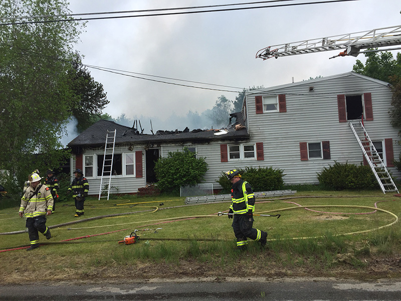 Fire severely damaged a home on Plummer Road in Gorham on Friday.