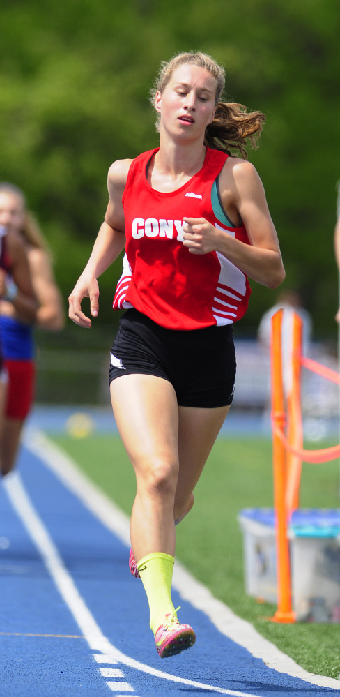 Cony's Anne Guadalupi runs the 800 meters at the Kennebec Valley Athletic Conference championship meet Saturday at McMann Field in Bath.