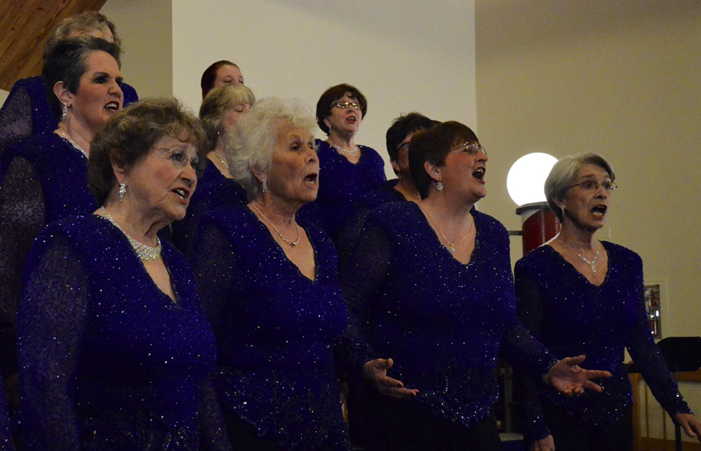 Contributed photo Maine-ly Harmony singers perform in Brunswick. From left are Candace Pepin and Betty Avery of Augusta, Martha Tate of Whitefield, Nancie Hugenbruch of Fayette, Sue Staples of Bangor and Dotti Meyer of Jefferson.