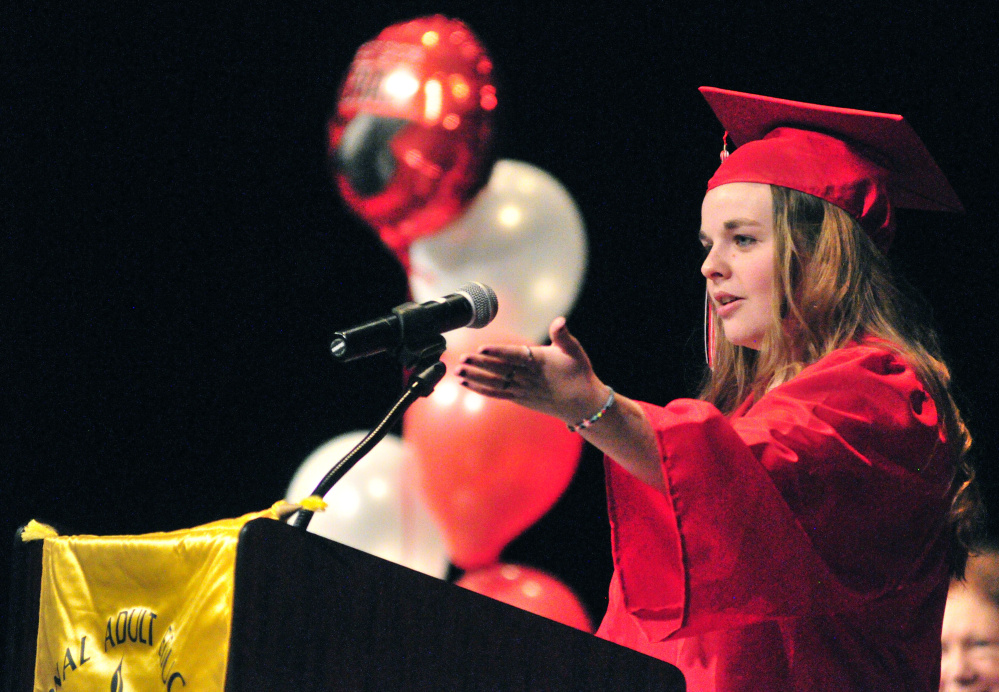 AUGUSTA, ME - JUNE 3: Student speaker Shelby Heikkinen gives a speech on Friday June 3, 2016 during adult education graduation at Cony High School in Augusta. (Photo by Joe Phelan/Staff Photographer)