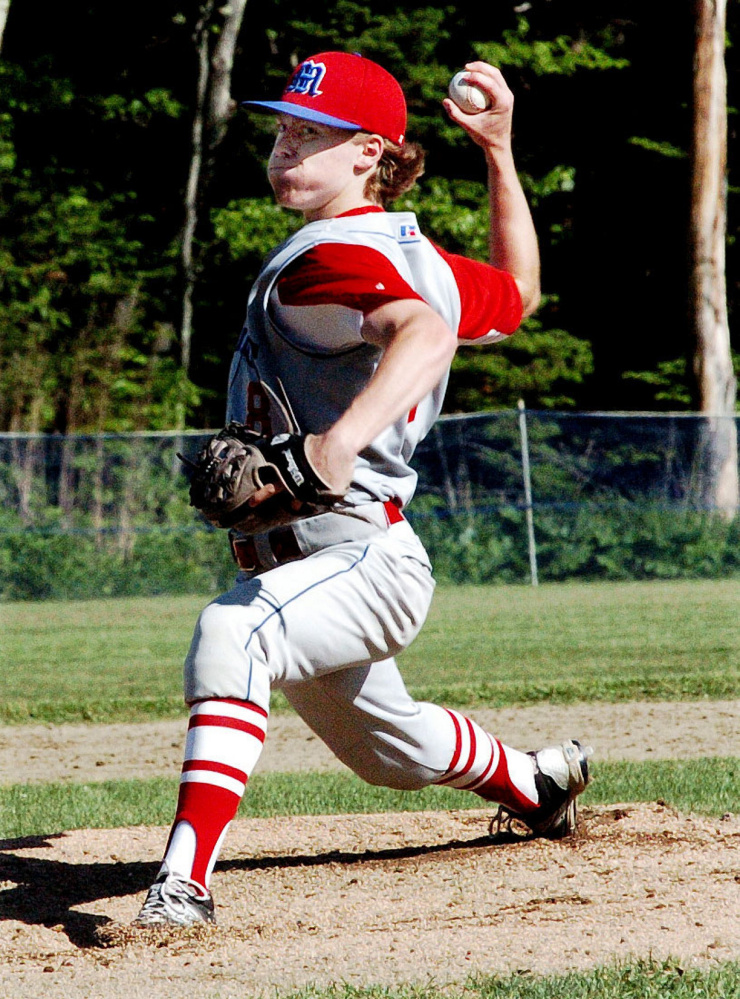 Messalonskee's Dustin Brown throws against Cony on Monday in Oakland.