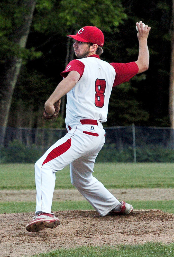Cony's Justin Rodrigue throws against Messalonskee on Monday in Oakland.