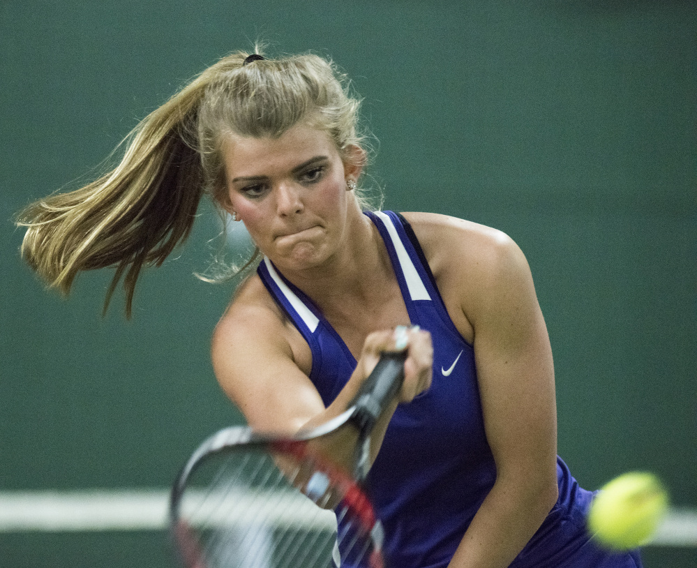 Waterville No. 1 singles player Emma Cristan competes against Camden's Jana Spicker during the Class B North finals Tuesday at the Armstrong Tennis Center in Hampden.