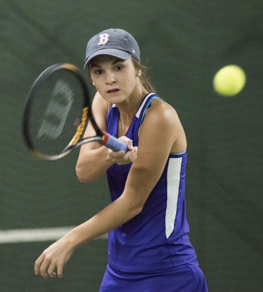 Waterville singles player Sammi Saulter competes against Camden's Kate Vannorsdall during the Class B North finals Tuesday in Hampden.