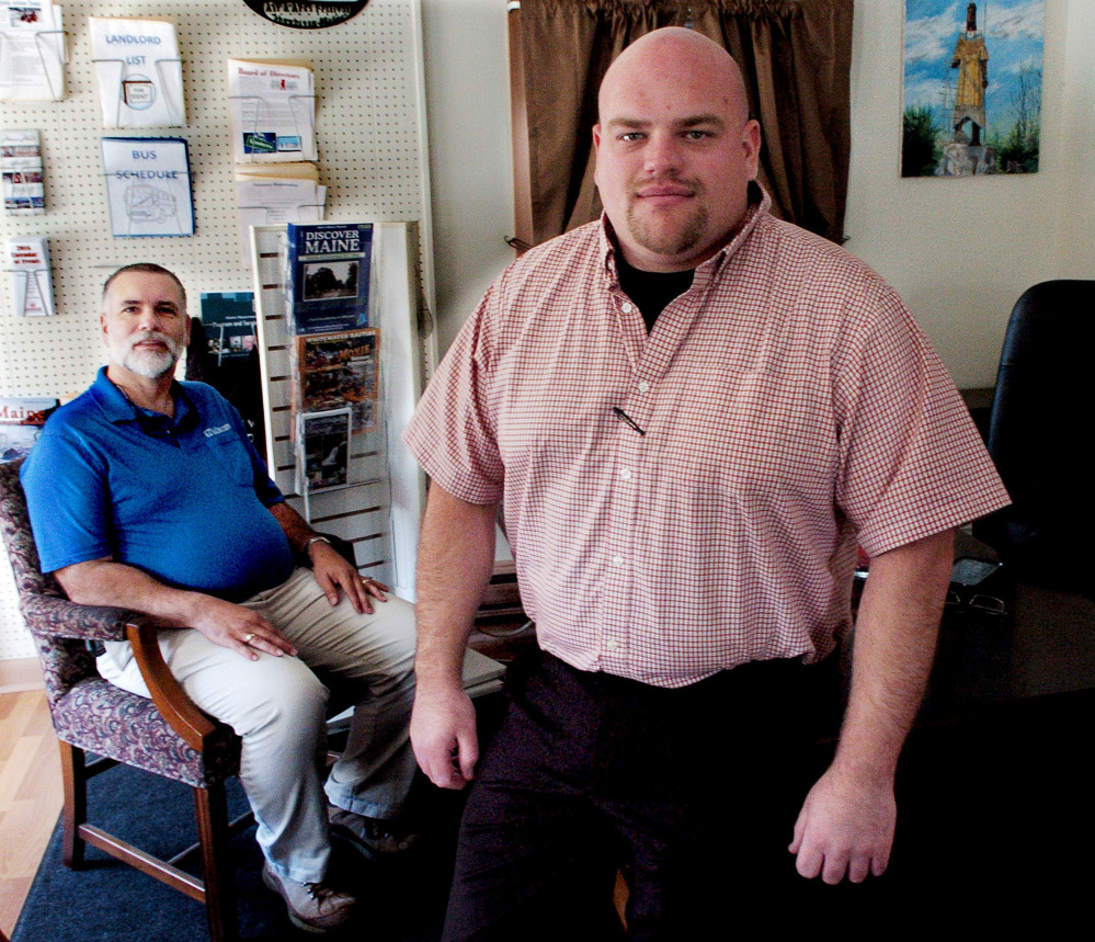 Jason Gayne, right, is the new interim director of the Skowhegan Chamber of Commerce. At left is Dan Plante, board chairman for the organization.
