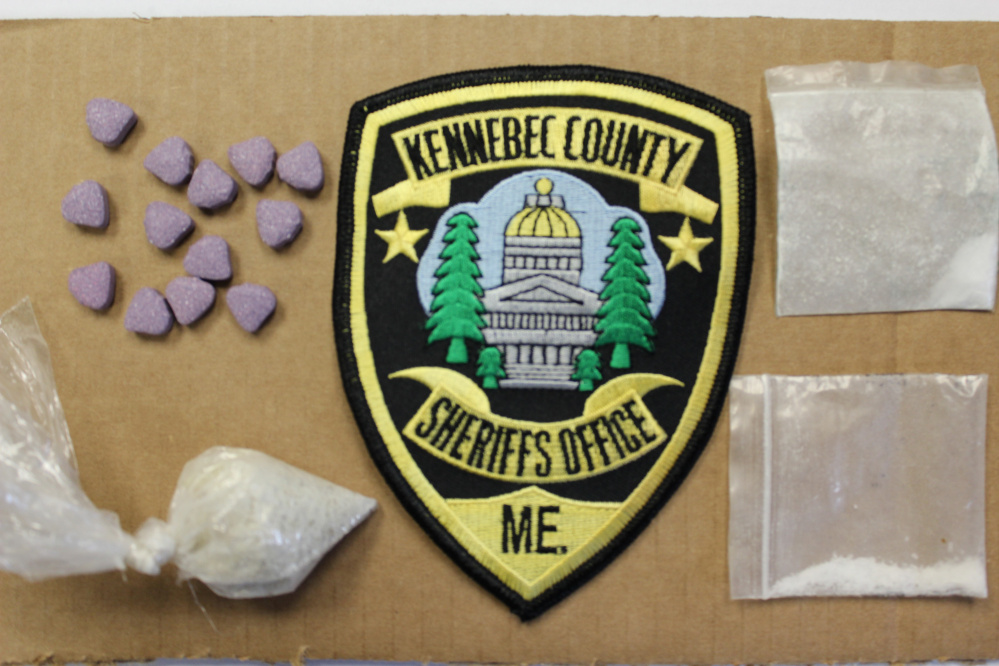 Kennebec County sheriff's deputies arrested two men Monday during a traffic stop in which they found street drugs and an anesthetic called ketamine, police said.