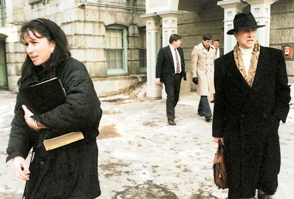 Mark Bechard's attorney in 1996, Michaela Murphy, leaves the Kennebec County jail accompanied by psychologist Charles Robinson, following Bechard's jailhouse arraignment in January 1996. In October 1996, Bechard was found not criminally responsible by reason of mental disease or defect for the murder of two Waterville nuns. Bechard was at the Capital Judicial Center May 24 requesting permission to move to a supervised apartment after the spending the past 20 years under state care, a request that was denied.