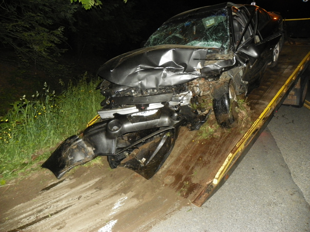 Laurie A. Garland, of Sidney, was killed Wednesday night when the car she was driving crossed the centerline and hit this vehicle on West River Road in Sidney.