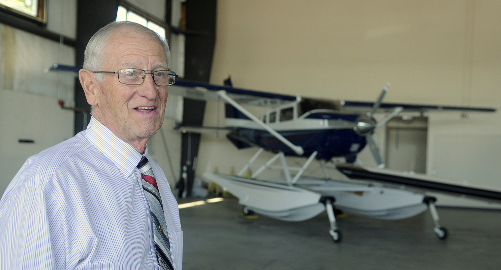 William H. Perry, a proprietor of Maine Instrument Flight, stands on Thursday in the new corporate hangar at the firm's headquarters in Augusta.