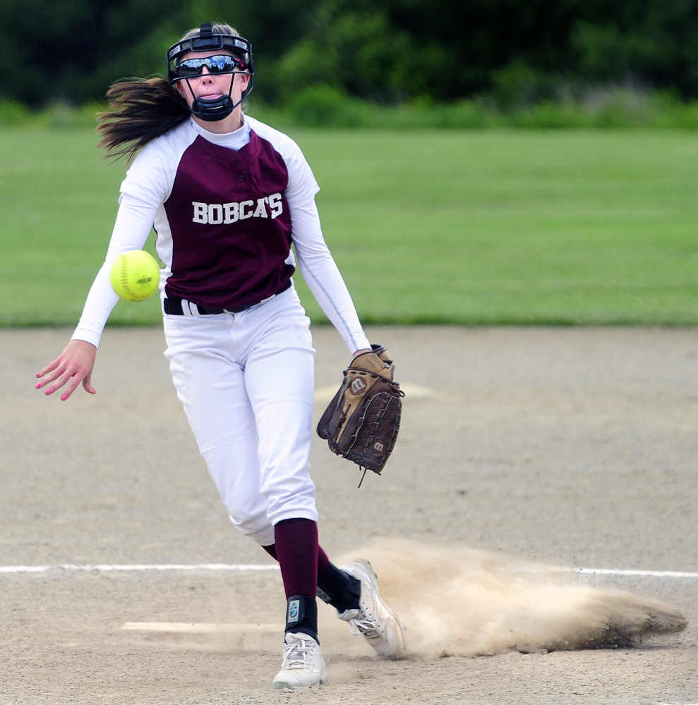 Richmond starter Meranda Martin delivers a pitch during a Class D South semifinal Friday against Greenville in Richmond. The Bobcats won, 18-1 in a five-inning game.