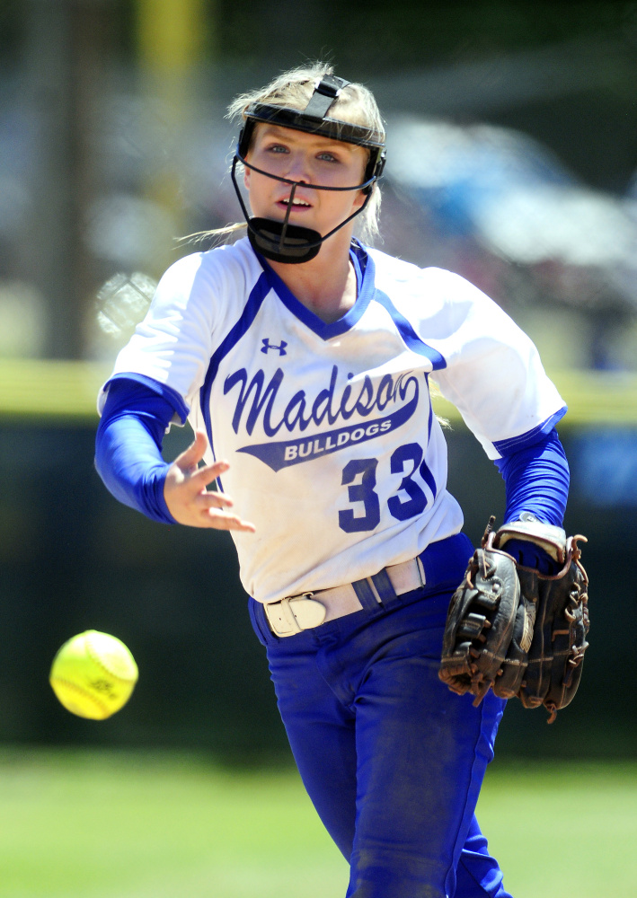 Madison pitcher Madeline Wood delivers a pitch in the Class C state title game against Bucksport on Saturday afternoon at St. Joseph's College in Standish.