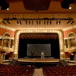 The Waterville Opera House sets the stage Wednesday for an upcoming show in Waterville. The Opera House celebrates its 114th birthday Thursday..