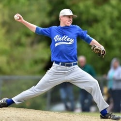Valley senior pitcher Cody Laweryson delivers a pitch during a Class D South semifinal against Richmond earlier this month. Laweryson is a finalist for the Dr. John Winkin award, which be annoucned Friday night at Colby College.