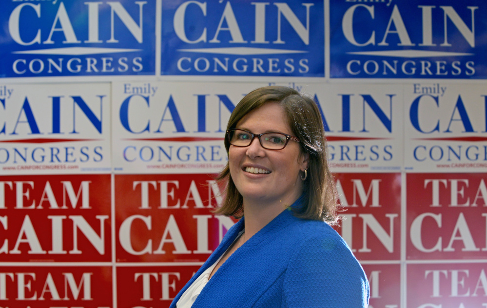 "Emily Cain, seen in her campaign office in Bangor on May 26, said she's running again for Maine's 2nd Congressional District seat against incumbent Bruce Poliquin, a Republican, because ""the stakes are higher than ever."""
