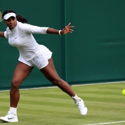 Serena Williams practices during a preview day for Wimbledon at the The All England Lawn Tennis and Croquet Club on Saturday in London. Wimbledon begins today.