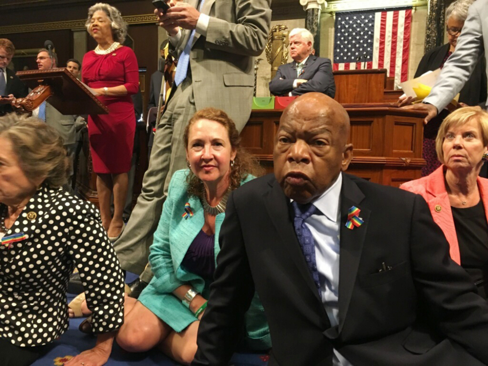 Democratic members of Congress, including Rep. John Lewis, D-Ga., center, and Rep. Elizabeth Esty, D-Conn., disrupted business in the House last week, but they could have picked a better bill to fight for.