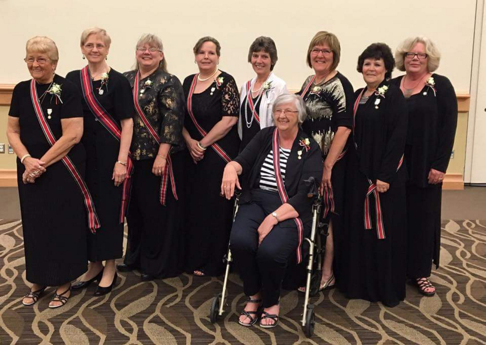 American Legion Auxiliary, Department of Maine, elected new slate of state officers for 2016-2017 on June 18 at Cross Insurance Center in Bangor. They are, from left, Arms Betty Seeley, of Belfast, sergeant at arms; Mary Jane McLoon, of Damariscotta, National Executive Committeewoman; Ann Durost, of Bar Harbor, vice president; Ginny Chaput, of Belfast, historian; Michelle McRae, of Oakland, secretary; Veronica Gurney, of Fairfield, president; Joan Caron, of Sabattus, chaplain; Debra Marr, of Rockland, NECA; and seated, Brenda King, of Camden, treasurer.