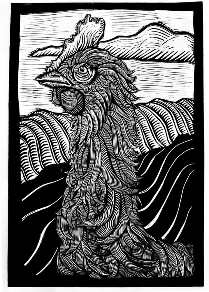 """""""Coolidge Effect,"""" Linocut, by Scott Minzy,was paired with Long Meadow Farm during CSA 2012."""