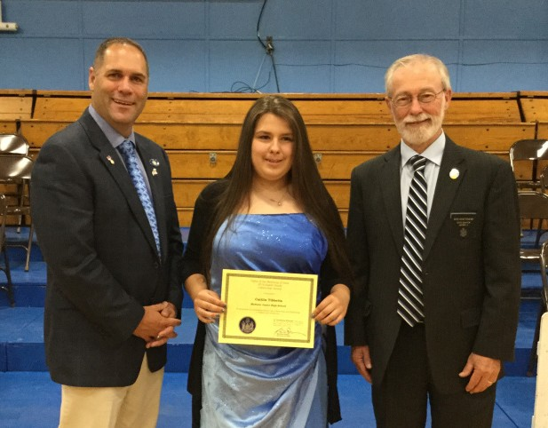 Sen. Rod Whittemore, R-Skowhegan, and Rep. Brad Farrin, R-Norridgewock, presented the Secretary of State's Eighth Grade Citizenship Award on June 8 to Madison Junior High School student Caitlin Tibbetts. From left are, Farrin, Tibbetts and Whittemore.