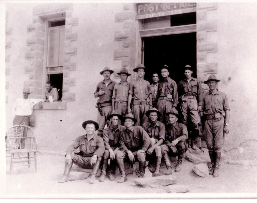 First Lt. Frederick H. Owen Jr., of Augusta, back row third from left, poses in 1916 with other Maine Army National Guard soldiers in front of the post office in Zapata, Texas, after they were summoned to duty on the Mexican border in response to a guerrilla raid on Columbus, New Mexico, that left 18 Americans dead.